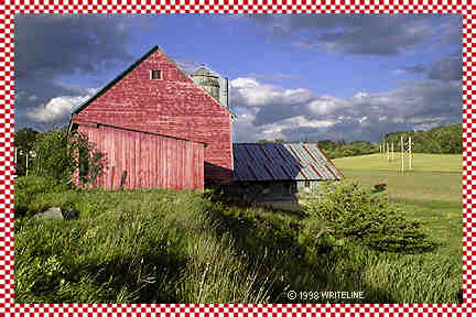 All images Copyright © 1997 - 2000 WriteLine. All Rights Reserved. Red Barn postcard