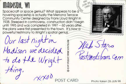 All images Copyright © 1997 - 2000 WriteLine. All Rights Reserved. Frank Lloyd Wright postage stamp