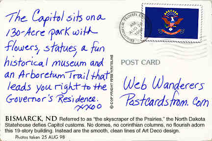 All images Copyright © 1997 - 2000 WriteLine. All Rights Reserved. North Dakota state flag postage stamp