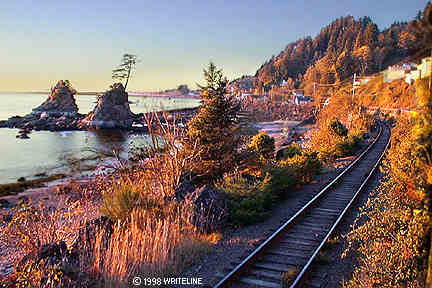All images Copyright © 1997 - 2000 WriteLine. All Rights Reserved. sunset on the coast of Oregon
