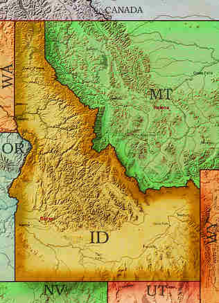 Idaho Mountains Map MAP - Physical map of idaho