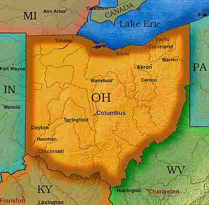 © 1999 WriteLine. Ohio map