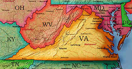 © 2000 WriteLine. Virginia map
